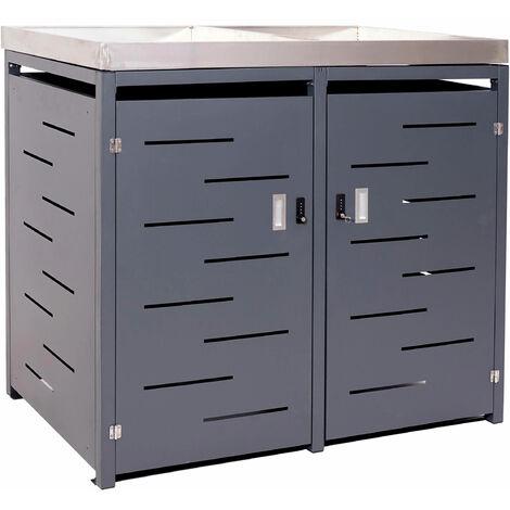 XL 2er-/4er-Mülltonnenverkleidung HHG-386, Mülltonnenbox, Pflanzkasten Edelstahl-Metall-Kombi 117x138x98cm erweiterbar