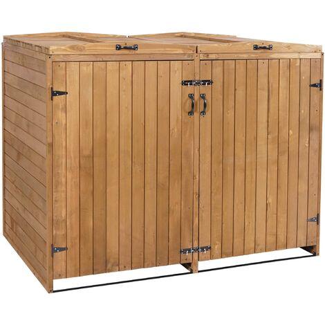 XL 2er-/4er-Mülltonnenverkleidung HHG-651, Mülltonnenbox, erweiterbar 120x75x96 Massiv-Holz