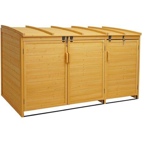 XL 3er-/6er-Mülltonnenverkleidung HHG-019, Mülltonnenbox, erweiterbar 116x66x92cm Holz FSC-zertifiziert