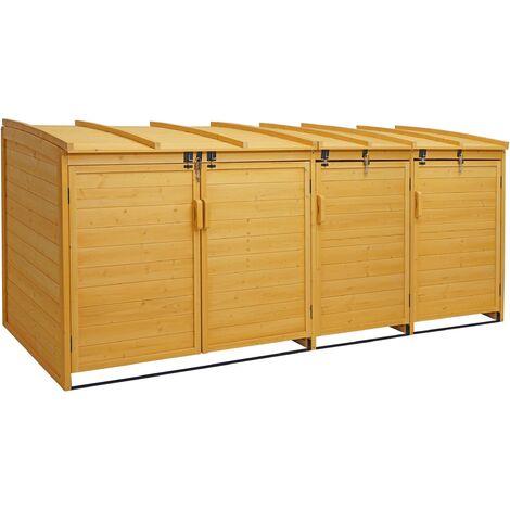 XL 4er-/8er-Mülltonnenverkleidung HHG-019, Mülltonnenbox, erweiterbar 116x66x92cm Holz FSC-zertifiziert