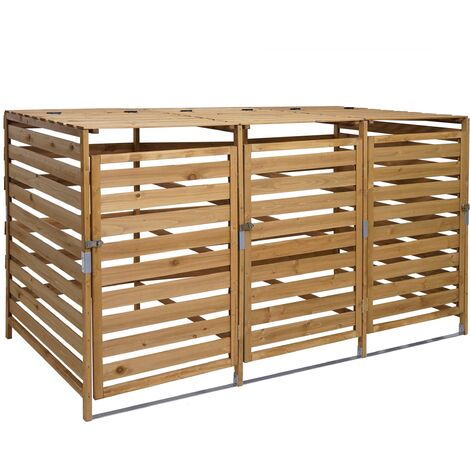 XL Abri à Poubelles, pour 3/6 poubelles HHG-714, cache-poubelle, extensible 110x65x93 cm, bois massif ~ brun