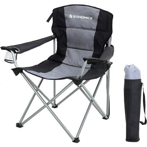 XL Campingstuhl, klappbar, mit gepolstertem Sitz, groß und komfortabel, Klappstuhl mit robustem Gestell, bis 150 kg belastbar, Outdoor Stuhl Schwarz/Blau