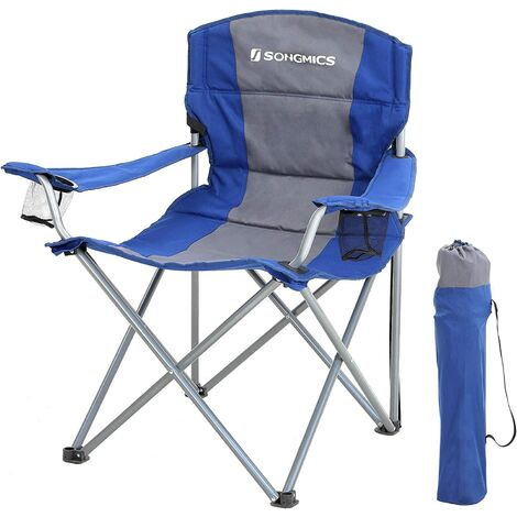 XL Folding Camping Chair, with Sponge Padded Seat, Large and Comfortable, Durable Structure, Max. Load Capacity 150 kg, Outdoor Chair Black/Blue
