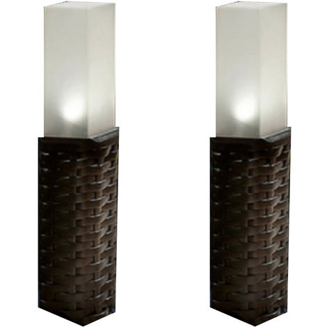 XL Garden Rattan Solar Post Lights