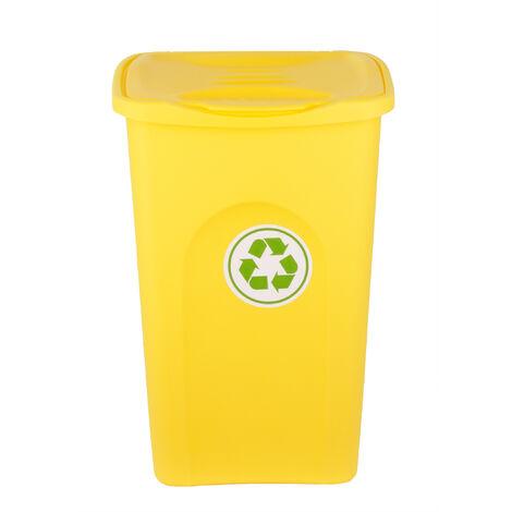 XL Mülleimer 50L groß - gelb - mit Klappdeckel - Recycling-Abfalleimer Mülltonne Abfallbehälter Mülltrenner Abfallsammler - für Küche, Zimmer & Draußen