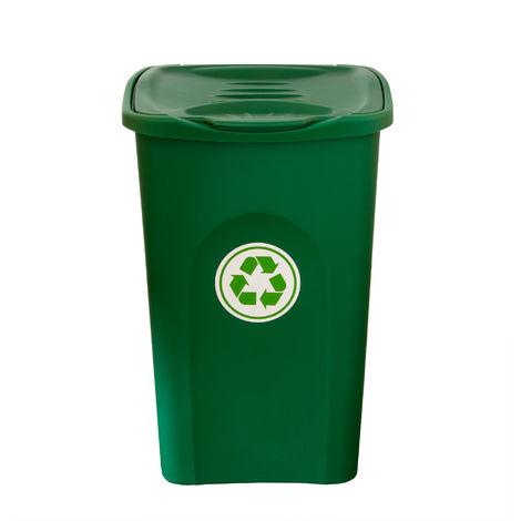 XL Mülleimer grün 50L mit Klappdeckel - Abfalleimer Müllbehälter Papierkorb - Ideal für Außen, Küche, Wohnzimmer und Büro