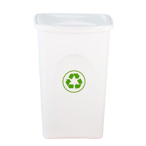 XL Mülleimer weiß 50L mit Klappdeckel - Abfalleimer Müllbehälter Papierkorb - Ideal für Außen, Küche, Wohnzimmer und Büro