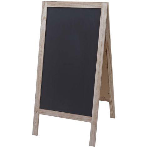 XL Tableau de publicité HHG-989 tableau à craie, 2 faces d'écriture, pliable, 100x50cm ~ naturel