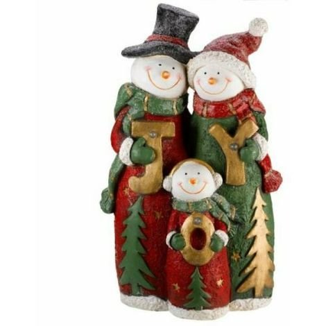 Xmas 62cm Hand Painted Polyresin LED Musical White Snowman Frosty Family Timer