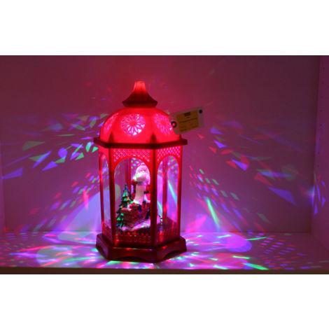 "Xmas Decoration 16"" Musical Red Hexagonal LED Light up show Lantern w Santa"