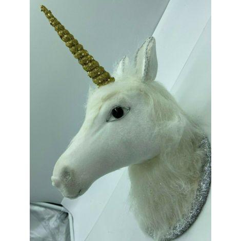 Xmas Decoration -30cm White & Silver 3D Mystical UNICORN Head Wall Ornament