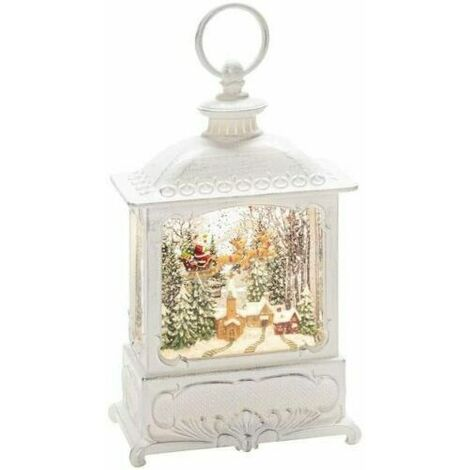 "main image of ""Xmas Decoration Christmas White Water Spinner Antique Lantern Santa & Reindeers"""