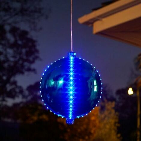 """main image of """"Xmas LED Blue Sapphire 15cm Meteor Shower Mirror Effect Bauble Outdoor Timer"""""""