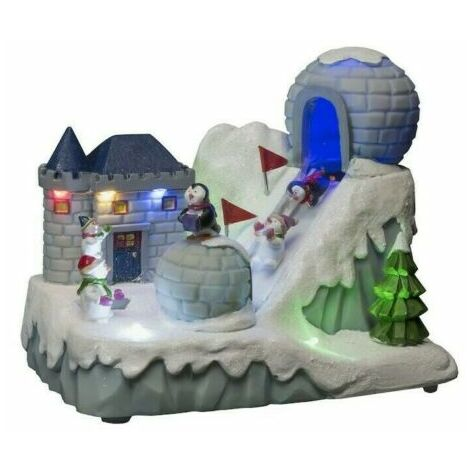 Xmas Musical Animated LED Ski Slope Penguin Snowmen Village Scene Santa Snow