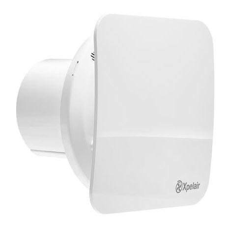 """Xpelair C4TS 4"""" Square Simply Silent Contour Extractor Fan with Timer in Cool White"""