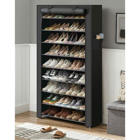 XXL 10 Schicht staubdichtes Schuhregal für ca. 45 paar Schuhe Schuhschrank Schuhablage 88 x 28 x 160cm Grau/Schwarz/Hellbraun/Beige