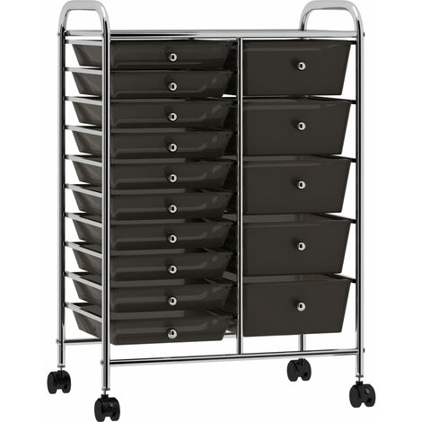 XXL 15-Drawer Mobile Storage Trolley Black Plastic