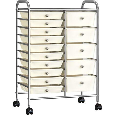 XXL 15-Drawer Mobile Storage Trolley White Plastic