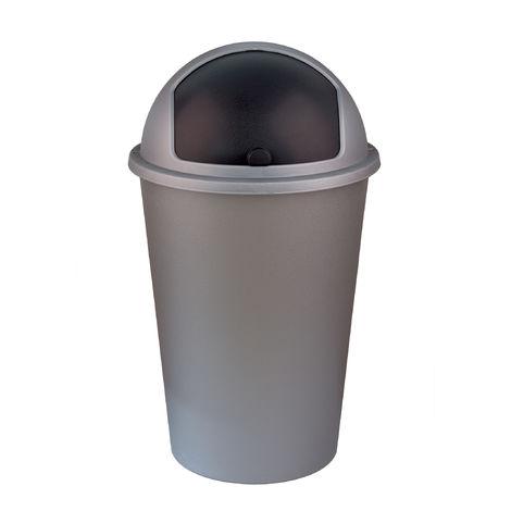 XXL Abfalleimer/Mülltrenner grau 50 Liter - mit schwarzem Schiebedeckel - 68 cm x 39 cm - Perfekt für Küche, Büro, Bad und Wohnzimmer