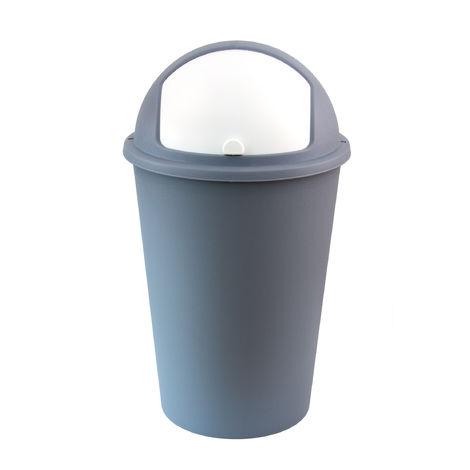 XXL Abfalleimer/Mülltrenner pastellblau 50 Liter - mit weißem Schiebedeckel - 68 cm x 39 cm - Perfekt für Küche, Büro, Bad und Wohnzimmer