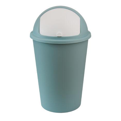 XXL Abfalleimer/Mülltrenner pastellgrün 50 Liter - mit weißem Schiebedeckel - 68 cm x 39 cm - Perfekt für Küche, Büro, Bad und Wohnzimmer
