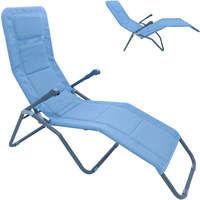 XXL Bäderliege Deluxe extra hoch Sitzhöhe ca. 43 cm Sonnenliege Gartenliege Liege Aluminium Schwingliege Saunaliege Textilene blau
