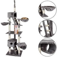 XXL Cat Tree with 2 Caves And Observation Decks Grey