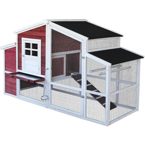 XXL chicken coop with run and raised hideout, fir wood, tar roof, 2000x810x1160mm, poultry coop