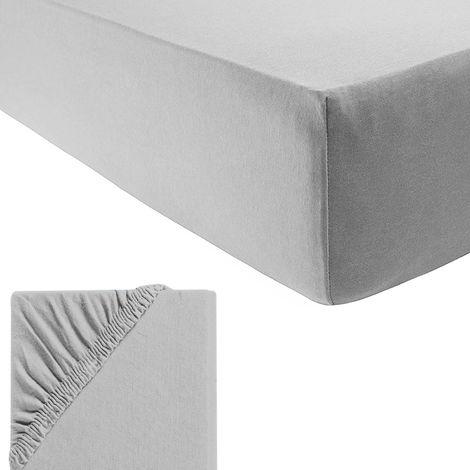 XXL Fein-Jersey Spannbetttuch für Wasser-und Boxspringbetten-M700957-Grau