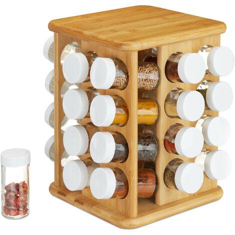XXL Gewürzkarussell, drehbar, 32 Gewürzgläser, aromadichte Aufbewahrung, Gewürze Organizer, Bambus, natur