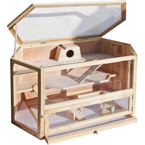 XXL Grande cage pour Hamsters Petits rongeurs Souris Rats Bois Grange Étable Abri animaux