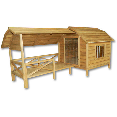 XXL Hundehütte Hundehaus Holz Balkon Garten Terrasse Lamellentüre Hund