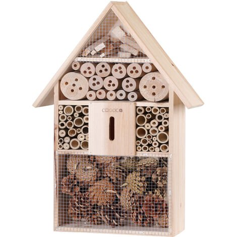 XXL Insect hotel 48cm Natural Wood Nest Box Nesting Habitat Bees Butterflies Ladybugs