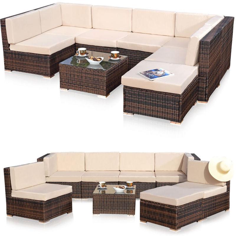 XXL jardin meubles de salon, groupe de meubles de jardin canapé et coussins  en osier marron