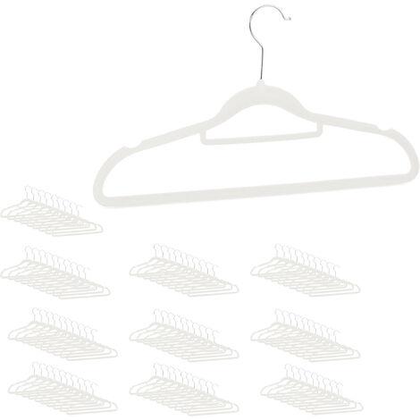 XXL Kleiderbügel Set, Samtbügel mit Hosenstange, Krawattenhalter, rutschfest, drehbar, großes 100er Pack, weiß