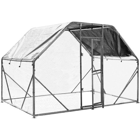 XXL Open Enclosure for Pets 2x3x2m Aviary or Chicken Coop with Water-Repellent Sun Shade and Door