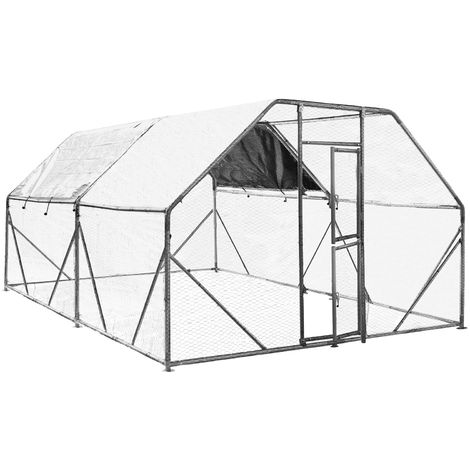 XXL Open Enclosure for Pets 6x3x2m Aviary or Chicken Coop with Water-Repellent Sun Shade and Door