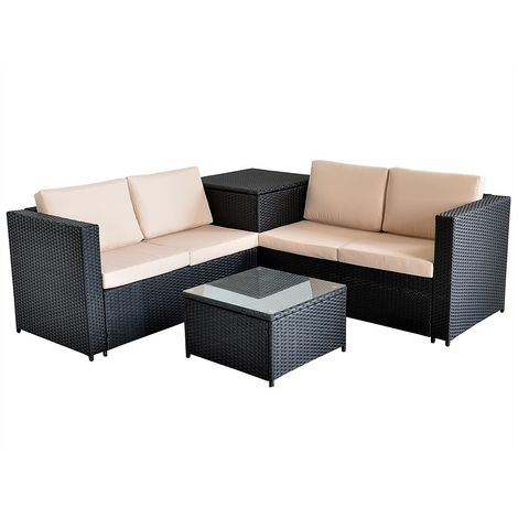XXL PolyRattan Seating group Garden Sofa Seating set Garden set Black support box