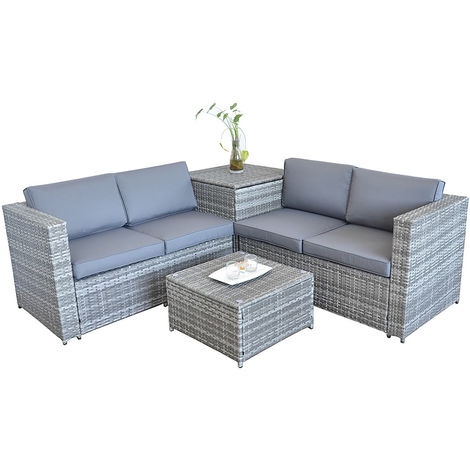 XXL PolyRattan Seating group + support box Garden Sofa Seating set Garden set Grey