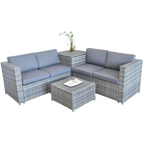 xxl polyrattan sitzgruppe auflagenbox garten sofa. Black Bedroom Furniture Sets. Home Design Ideas