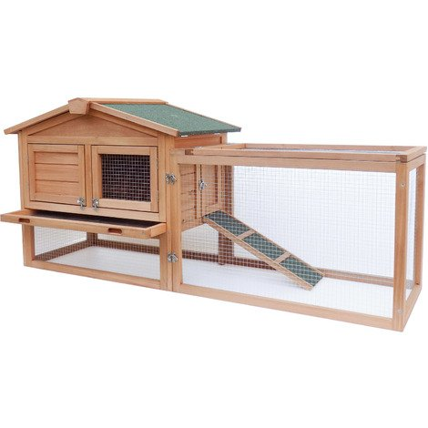 XXL rabbit hutch Open enclosure in the basement Elevated shelter Spruce wood Tar roof Barn