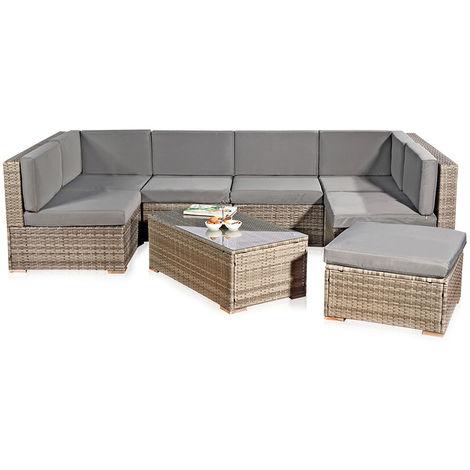 XXL Rotin meublier, ensemble de jardin, poly-rotin, lounge, meuble de jardin, suite, gris sofa