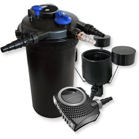 XXL Set Druckfilter 30000l 18W UV Klärer Teichpumpe Skimmer CSP-250 490