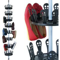 XXL Shoe Carousel with Telescopic Rod for 96 Shoes Stainless Steel