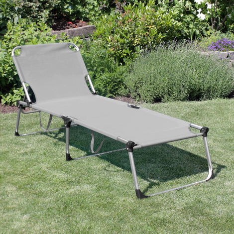 XXL Sonnenliege 'Adelaid' Aluminiumgestell, 212x71cm, Textilenbespannung Grau, 5-fach verstellbare Rückenlehne, klappbar, platzsparend, wetterfest, ideal für Garten und Camping