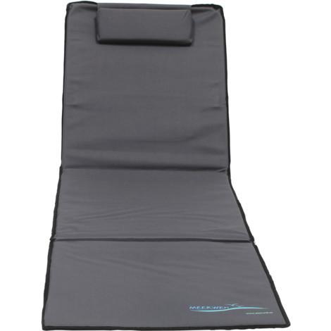 XXL Strandmatte mit Schirm gepolstert 200 x 60 x 3 cm anthrazit Badematte Strandtuch mit Rückenlehne Strandliege faltbar inkl. Kopfkissen Tragetasche