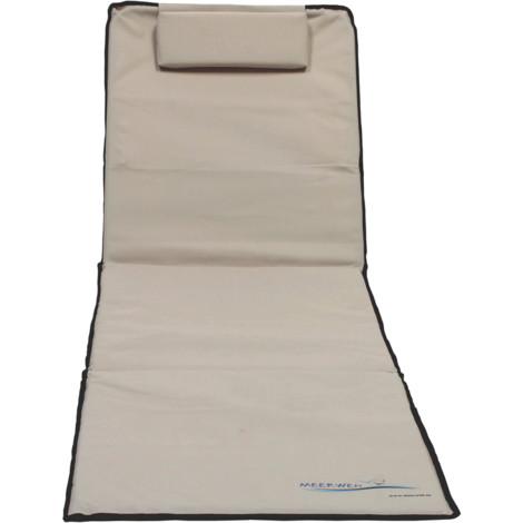 XXL Strandmatte mit Schirm gepolstert 200 x 60 x 3 cm beige Badematte Strandtuch mit Rückenlehne Strandliege faltbar inkl. Kopfkissen Tragetasche