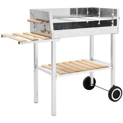 XXL Trolley Charcoal BBQ Grill Stainless Steel with 2 Shelves - Silver