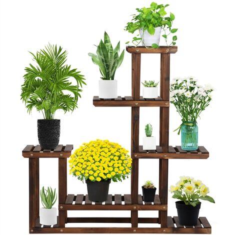 Yaheeetech Soporte de Maceta Estantería de Plantas Estante Madera para Jardín Balcón Escalera de Flores Decorativas Estética
