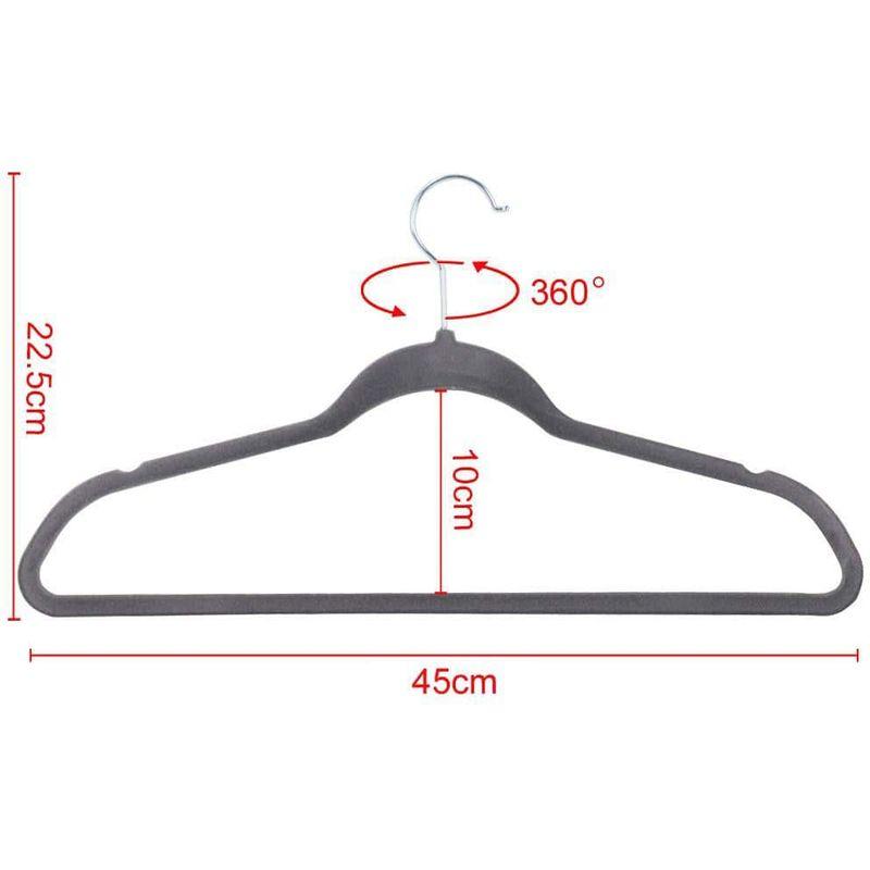 Kleiderbügel 100 Stück Anzugbügel Garderobenbügel samt Bügel anti-rutsch Grau